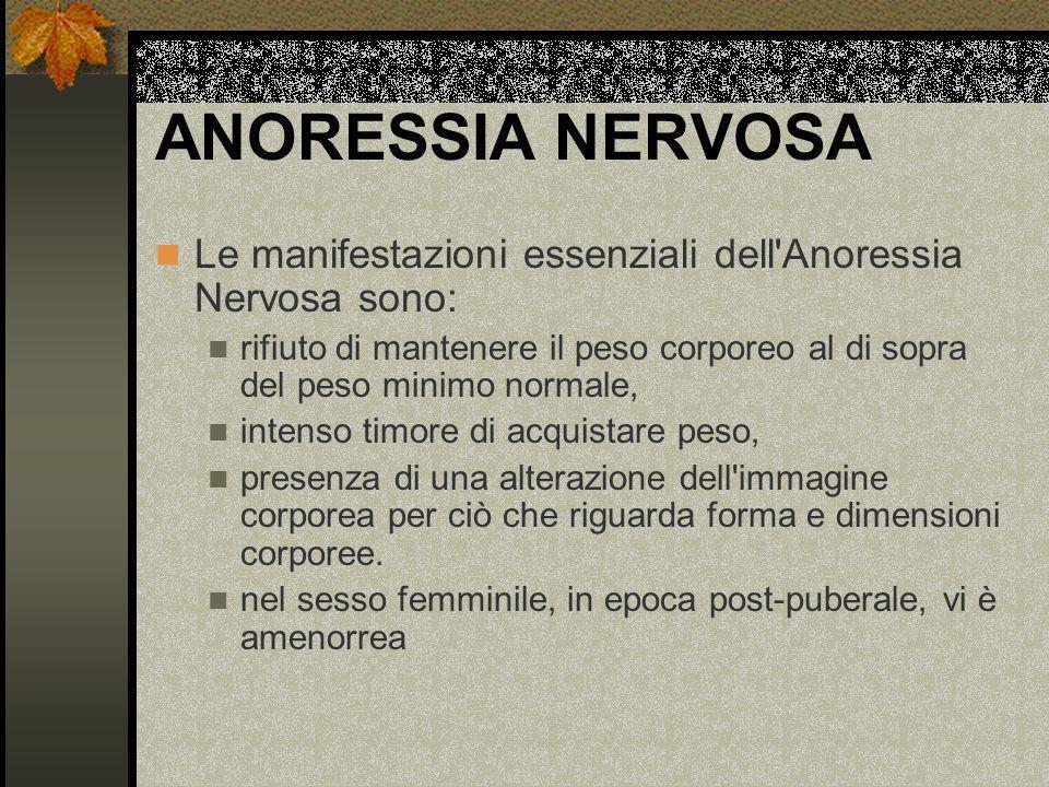 ANORESSIA NERVOSA Le manifestazioni essenziali dell Anoressia Nervosa sono: