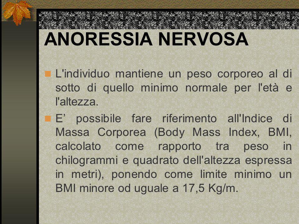 ANORESSIA NERVOSA L individuo mantiene un peso corporeo al di sotto di quello minimo normale per l età e l altezza.