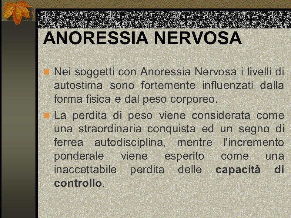 ANORESSIA NERVOSA Nei soggetti con Anoressia Nervosa i livelli di autostima sono fortemente influenzati dalla forma fisica e dal peso corporeo.
