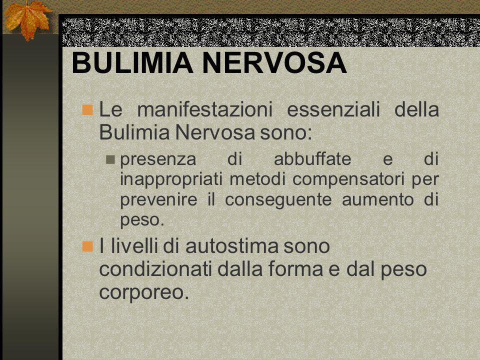 BULIMIA NERVOSA Le manifestazioni essenziali della Bulimia Nervosa sono: