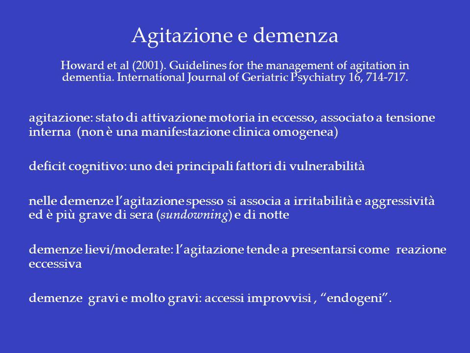 Agitazione e demenza Howard et al (2001)