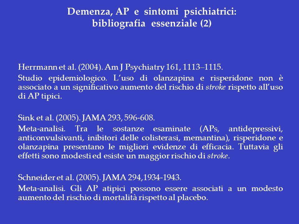 Demenza, AP e sintomi psichiatrici: bibliografia essenziale (2)