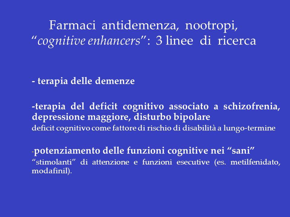 Farmaci antidemenza, nootropi, cognitive enhancers : 3 linee di ricerca