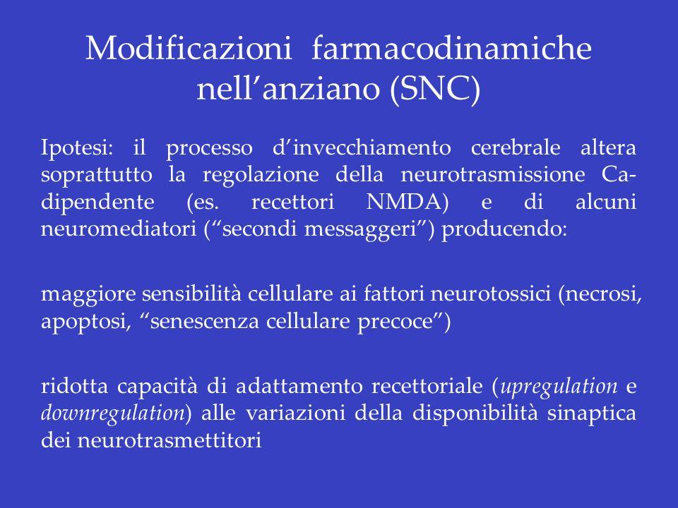Modificazioni farmacodinamiche nell'anziano (SNC)