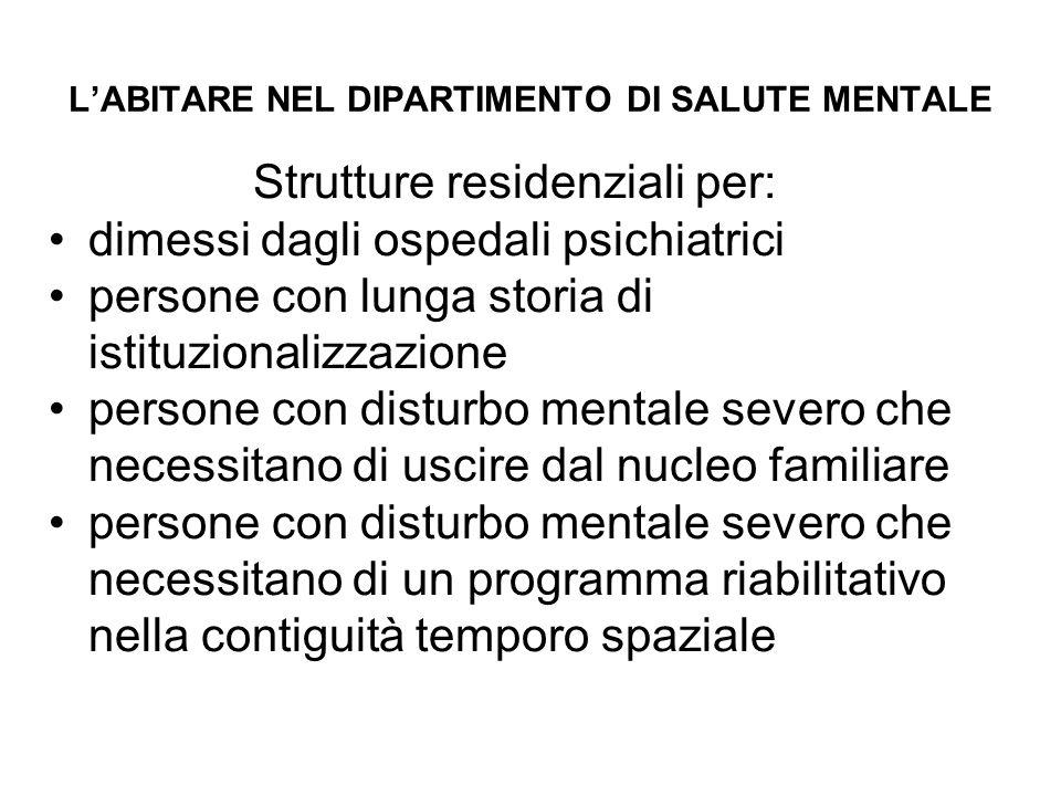 L'ABITARE NEL DIPARTIMENTO DI SALUTE MENTALE