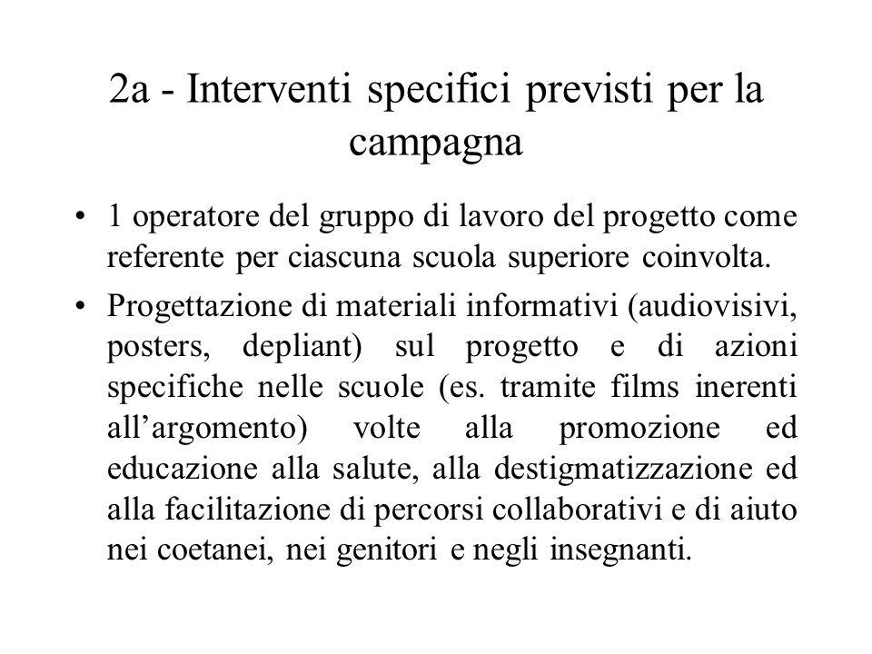 2a - Interventi specifici previsti per la campagna