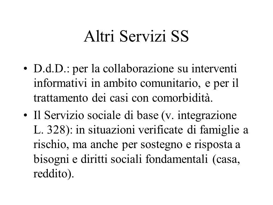 Altri Servizi SS D.d.D.: per la collaborazione su interventi informativi in ambito comunitario, e per il trattamento dei casi con comorbidità.