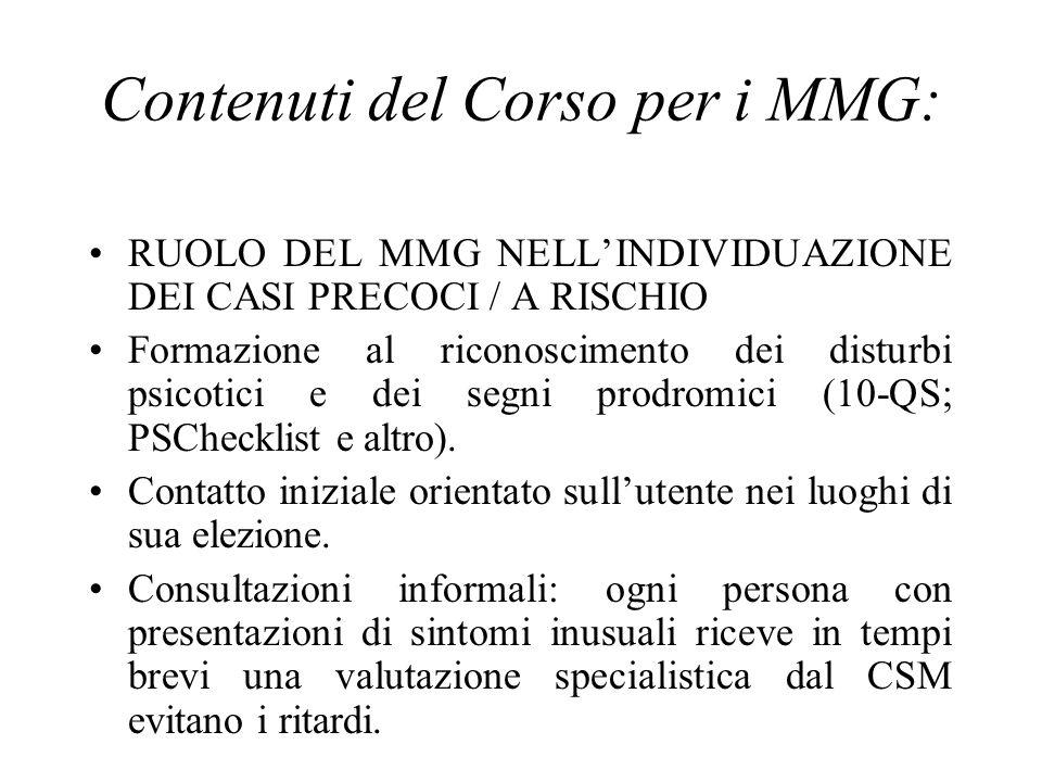 Contenuti del Corso per i MMG: