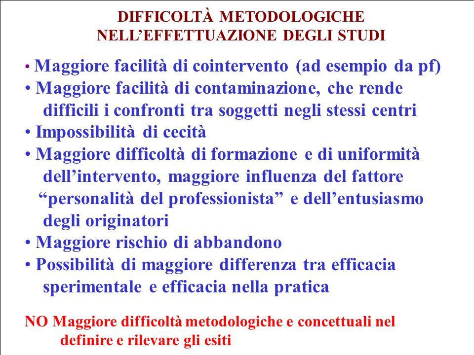 DIFFICOLTÀ METODOLOGICHE NELL'EFFETTUAZIONE DEGLI STUDI