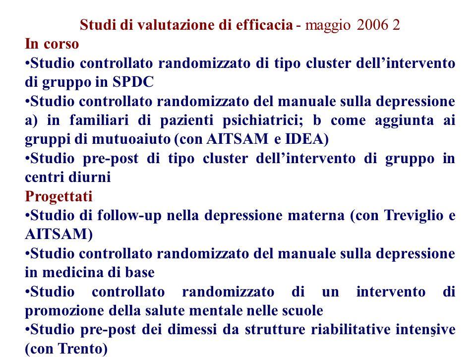 Studi di valutazione di efficacia - maggio 2006 2