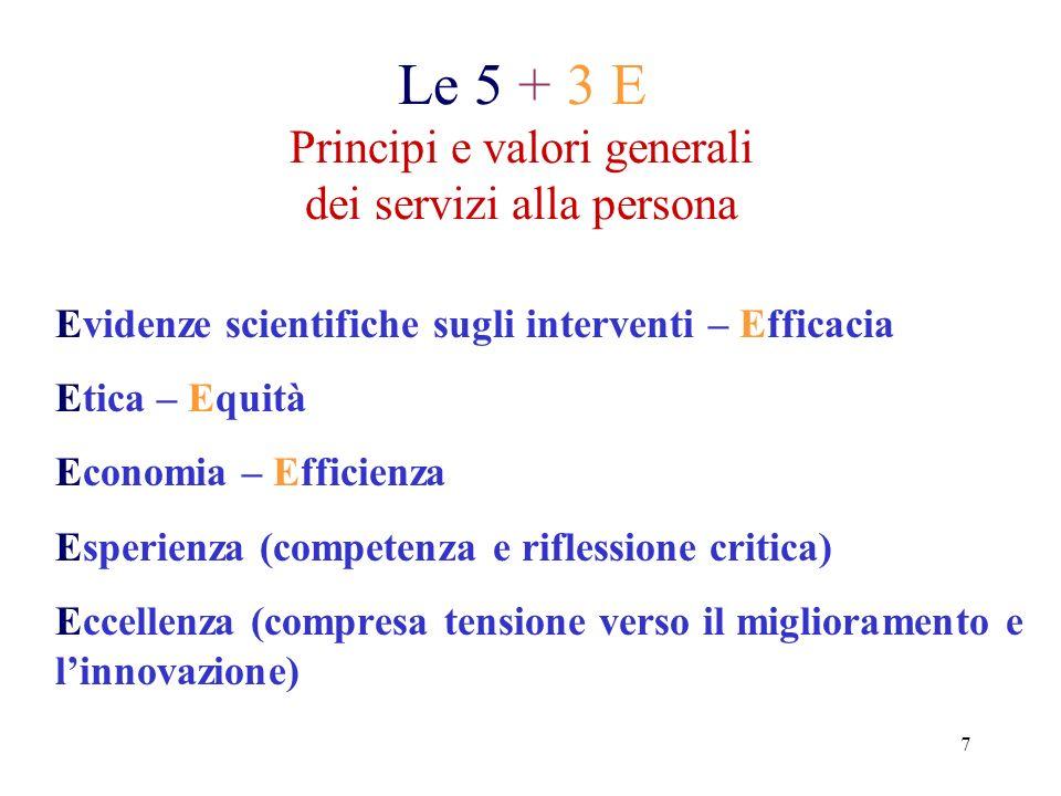 Le 5 + 3 E Principi e valori generali dei servizi alla persona