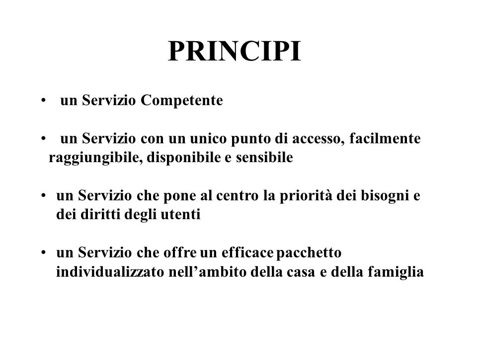 PRINCIPI un Servizio Competente