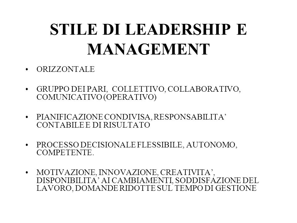 STILE DI LEADERSHIP E MANAGEMENT