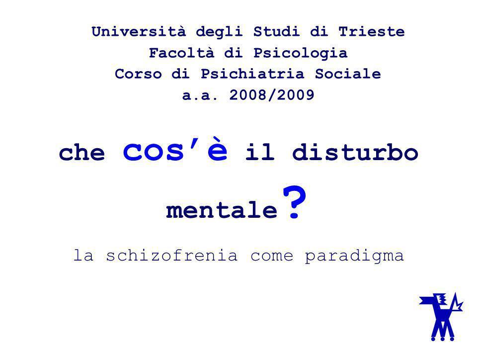 che cos'è il disturbo mentale la schizofrenia come paradigma