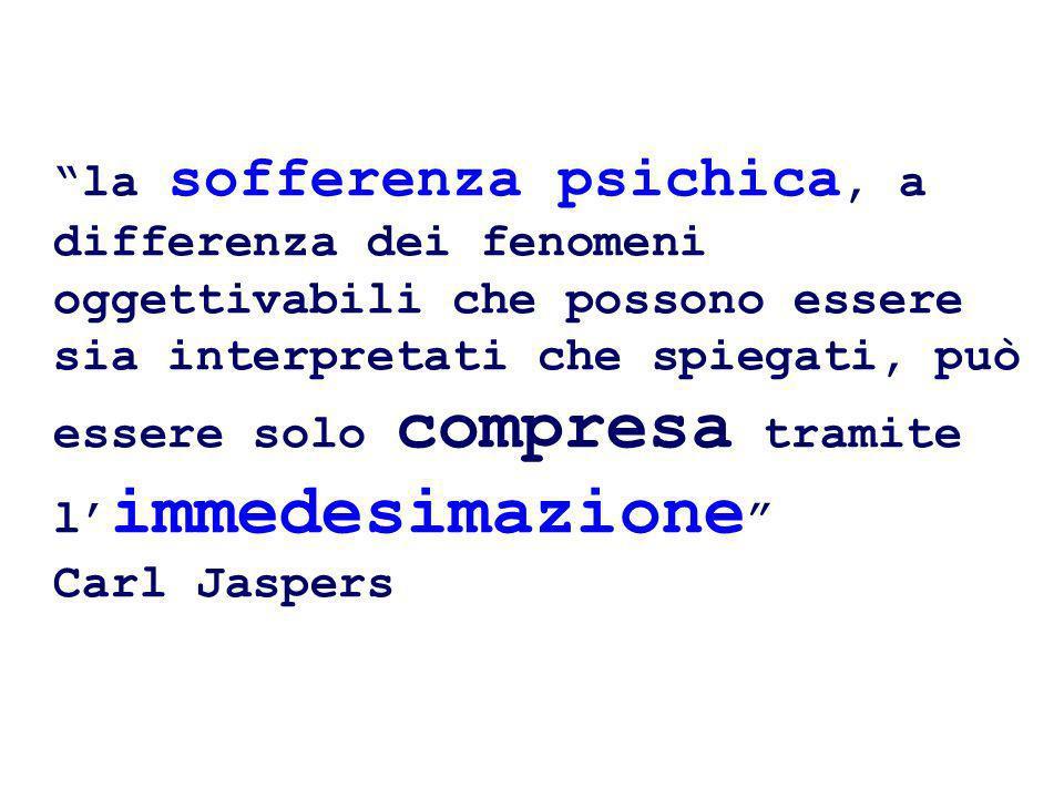 la sofferenza psichica, a differenza dei fenomeni oggettivabili che possono essere sia interpretati che spiegati, può essere solo compresa tramite l'immedesimazione Carl Jaspers