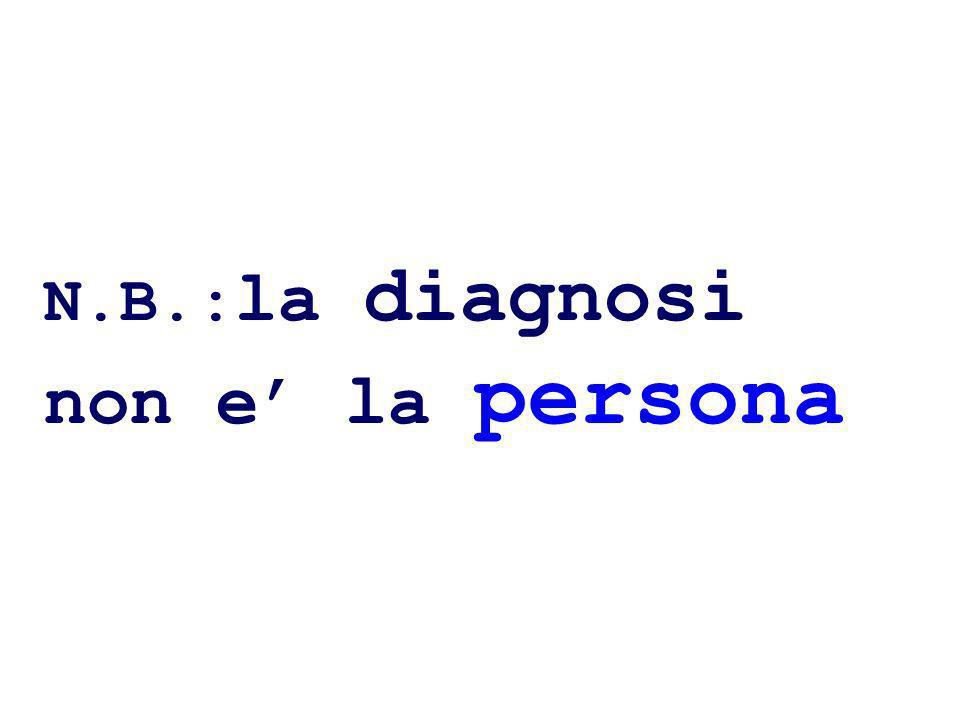 N.B.:la diagnosi non e' la persona