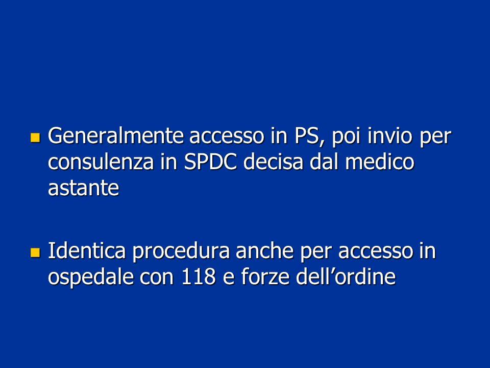Generalmente accesso in PS, poi invio per consulenza in SPDC decisa dal medico astante