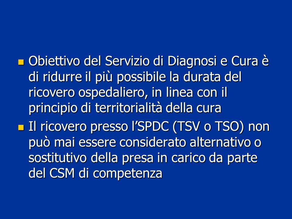 Obiettivo del Servizio di Diagnosi e Cura è di ridurre il più possibile la durata del ricovero ospedaliero, in linea con il principio di territorialità della cura