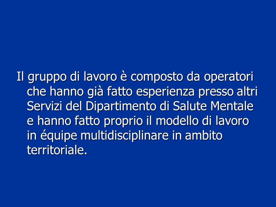 Il gruppo di lavoro è composto da operatori che hanno già fatto esperienza presso altri Servizi del Dipartimento di Salute Mentale e hanno fatto proprio il modello di lavoro in équipe multidisciplinare in ambito territoriale.