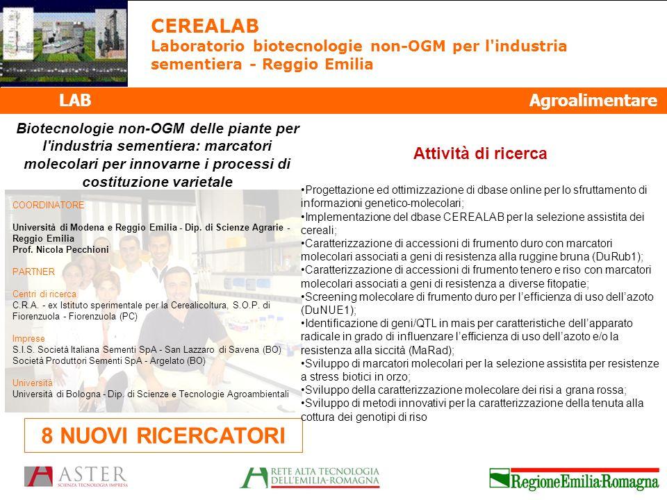 8 NUOVI RICERCATORI CEREALAB LAB Agroalimentare Attività di ricerca