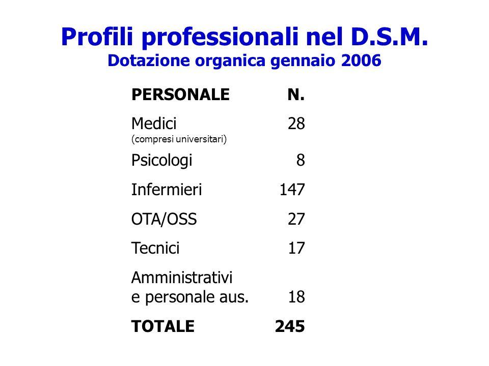 Profili professionali nel D.S.M. Dotazione organica gennaio 2006
