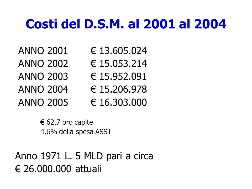 Costi del D.S.M. al 2001 al 2004 ANNO 2001 € 13.605.024