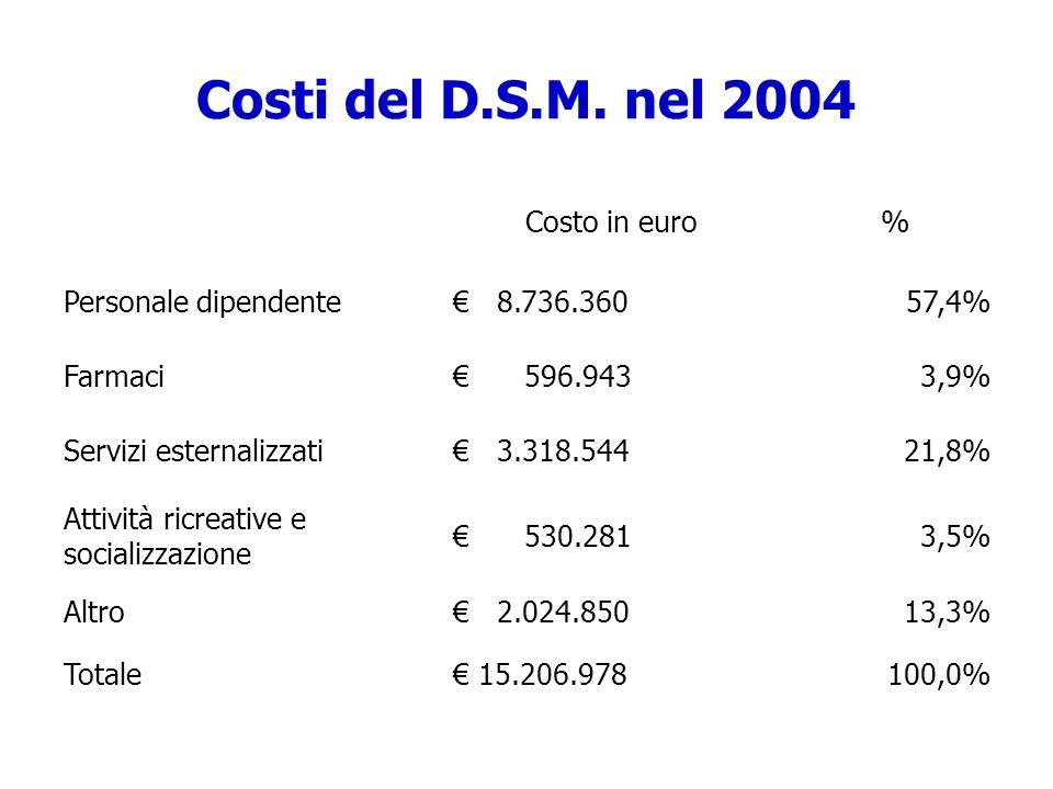 Costi del D.S.M. nel 2004 Costo in euro % Personale dipendente