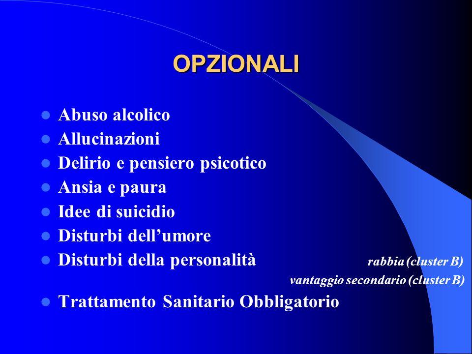 OPZIONALI Abuso alcolico Allucinazioni Delirio e pensiero psicotico