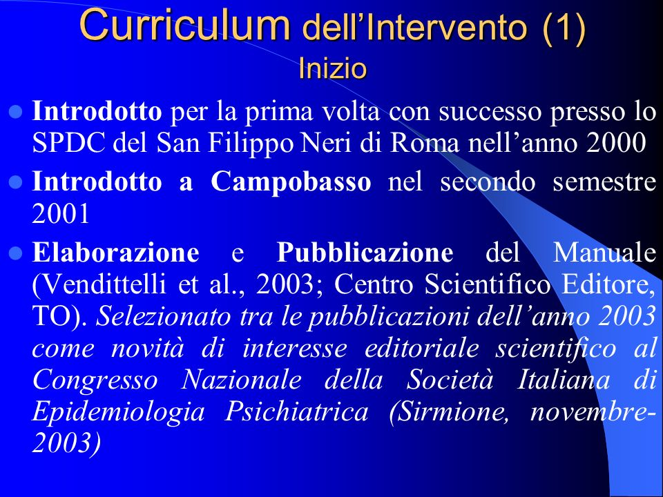 Curriculum dell'Intervento (1) Inizio