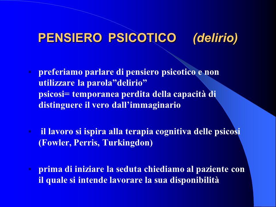 PENSIERO PSICOTICO (delirio)