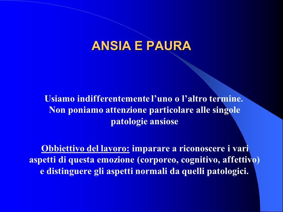 ANSIA E PAURA Usiamo indifferentemente l'uno o l'altro termine. Non poniamo attenzione particolare alle singole patologie ansiose.