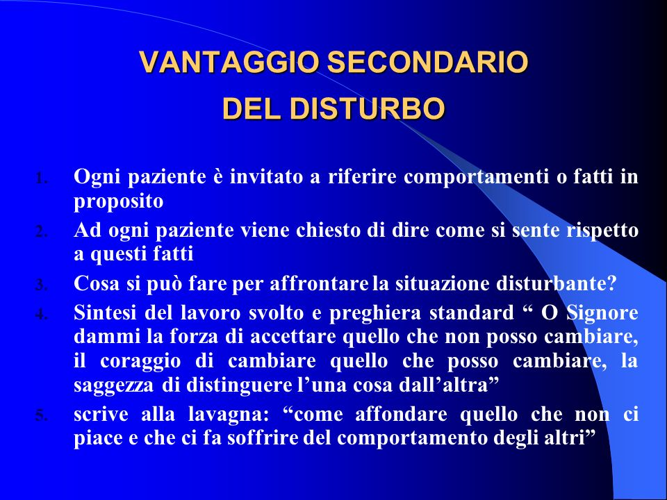 VANTAGGIO SECONDARIO DEL DISTURBO