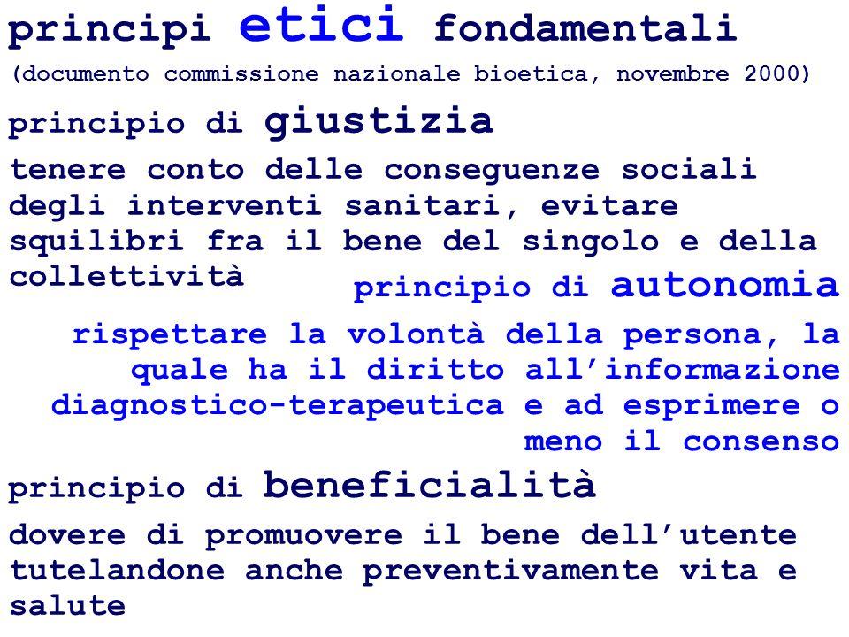 principi etici fondamentali (documento commissione nazionale bioetica, novembre 2000)