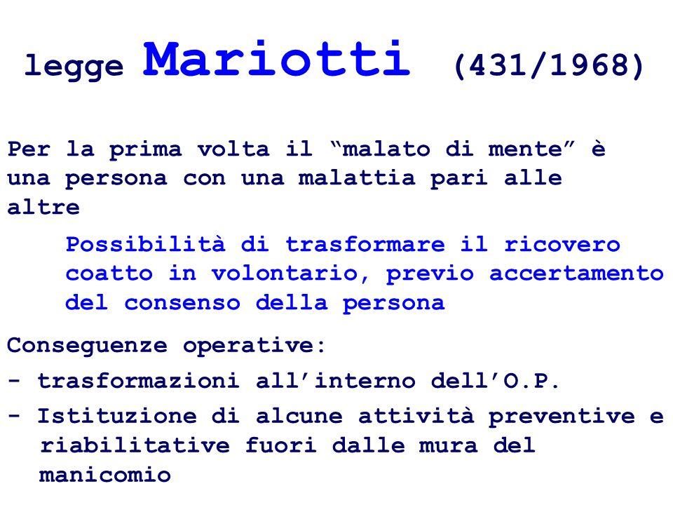legge Mariotti (431/1968) Per la prima volta il malato di mente è una persona con una malattia pari alle altre.