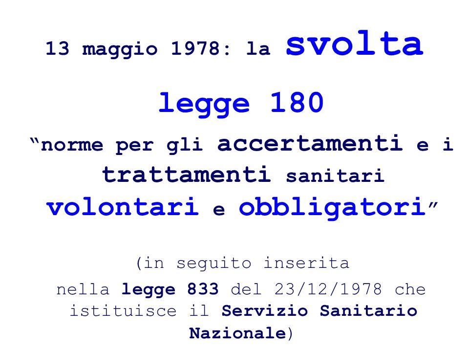 legge 180 13 maggio 1978: la svolta