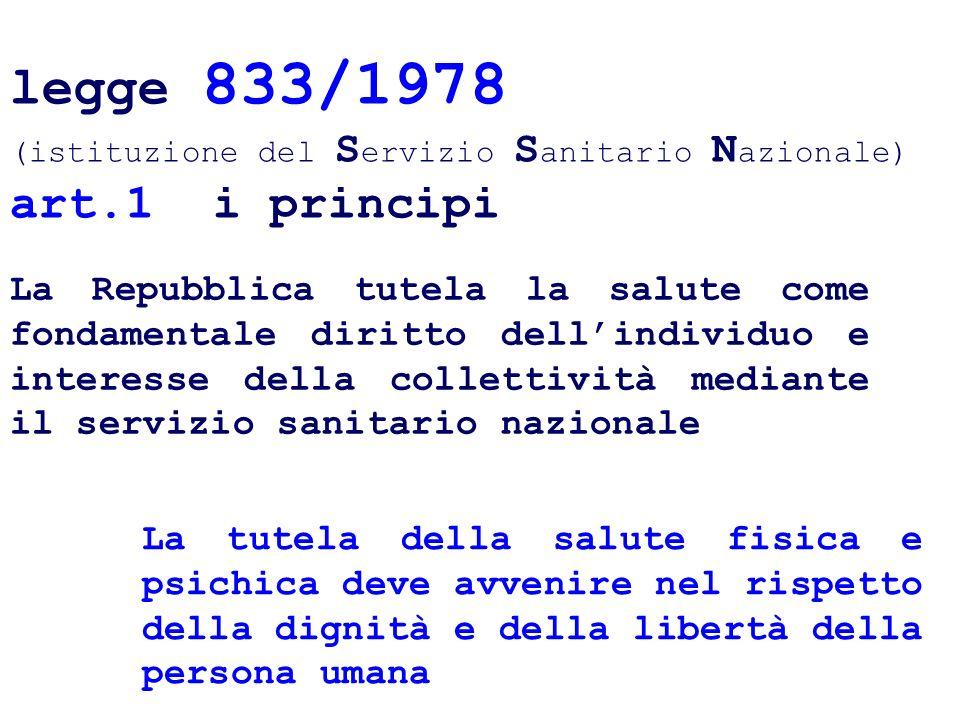 legge 833/1978 (istituzione del Servizio Sanitario Nazionale) art