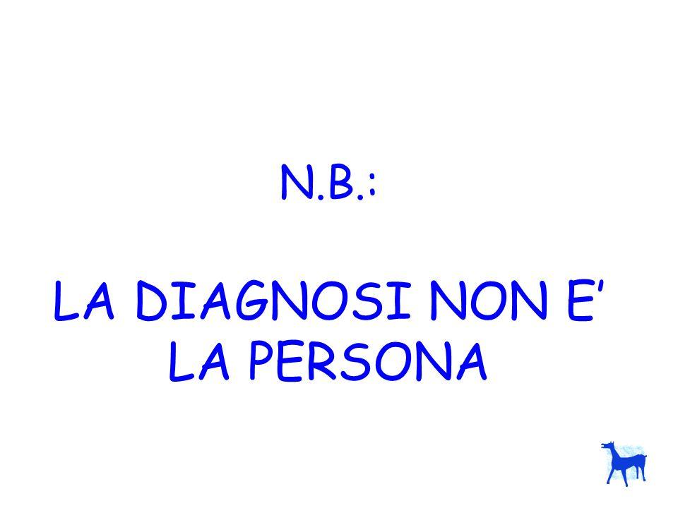 N.B.: LA DIAGNOSI NON E' LA PERSONA