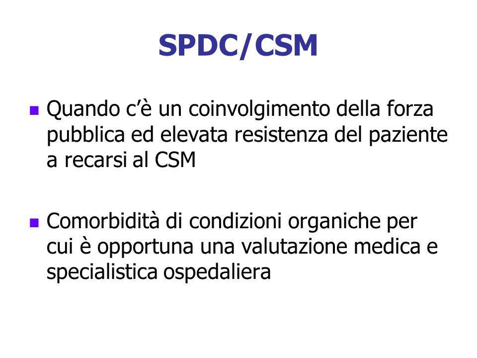 SPDC/CSM Quando c'è un coinvolgimento della forza pubblica ed elevata resistenza del paziente a recarsi al CSM.