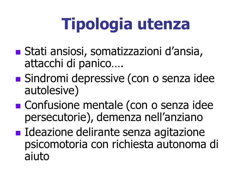 Tipologia utenza Stati ansiosi, somatizzazioni d'ansia, attacchi di panico…. Sindromi depressive (con o senza idee autolesive)