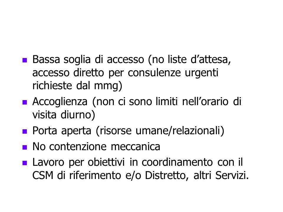Bassa soglia di accesso (no liste d'attesa, accesso diretto per consulenze urgenti richieste dal mmg)