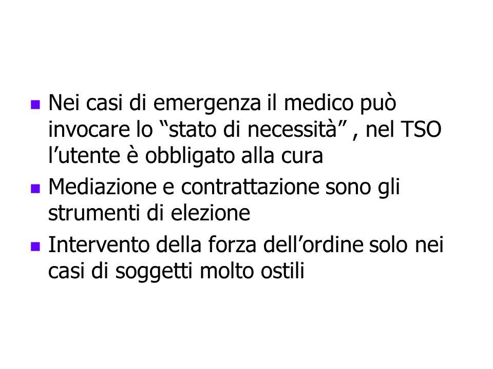 Nei casi di emergenza il medico può invocare lo stato di necessità , nel TSO l'utente è obbligato alla cura