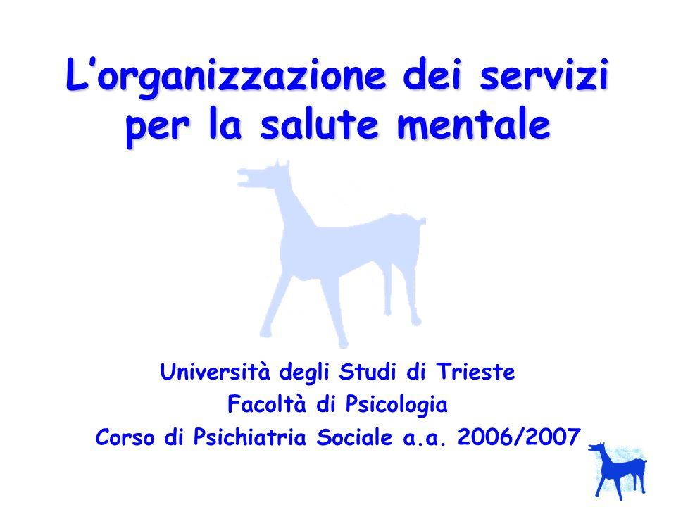 L'organizzazione dei servizi per la salute mentale