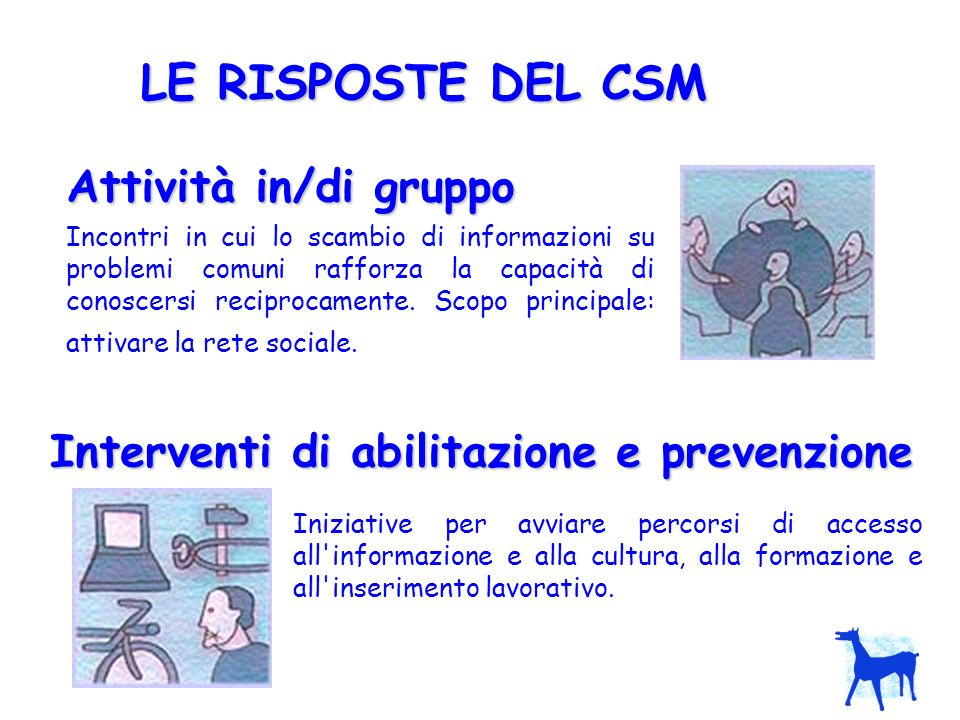 Interventi di abilitazione e prevenzione