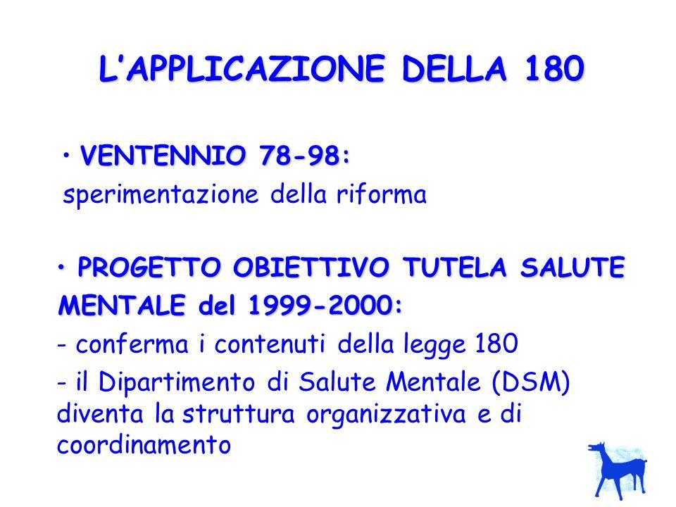 L'APPLICAZIONE DELLA 180 VENTENNIO 78-98: