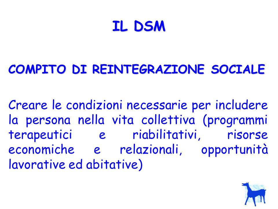 IL DSM COMPITO DI REINTEGRAZIONE SOCIALE.