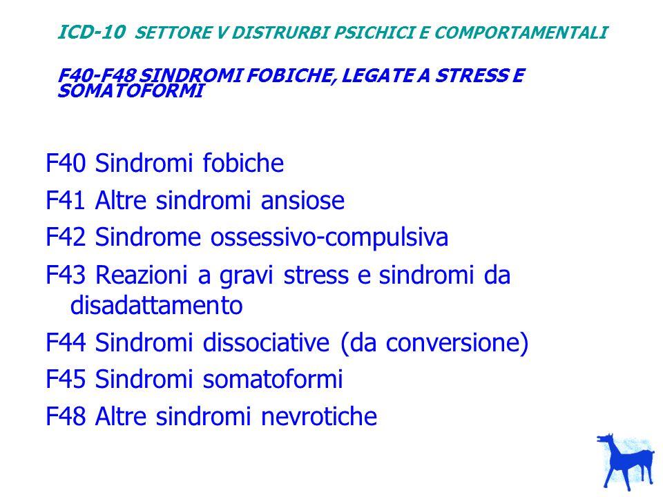F40-F48 SINDROMI FOBICHE, LEGATE A STRESS E SOMATOFORMI
