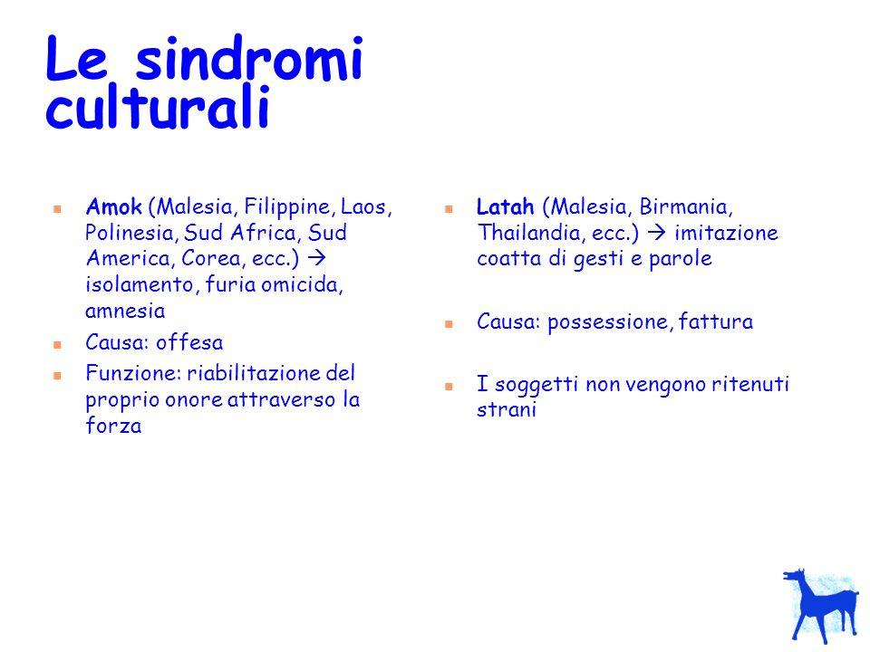 Le sindromi culturali Amok (Malesia, Filippine, Laos, Polinesia, Sud Africa, Sud America, Corea, ecc.)  isolamento, furia omicida, amnesia.