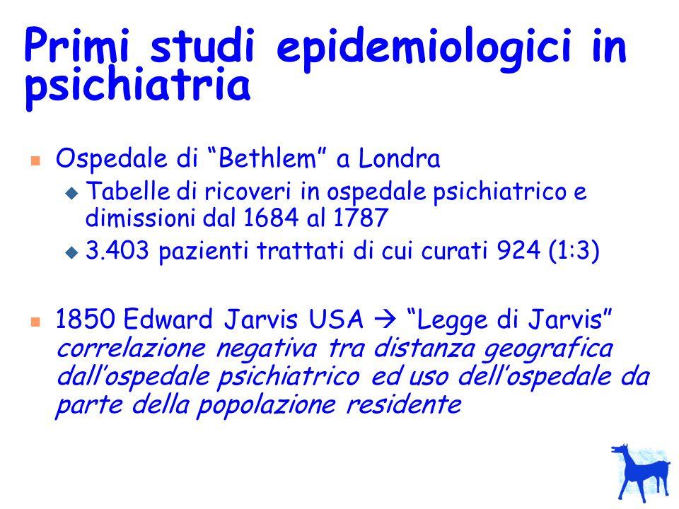 Primi studi epidemiologici in psichiatria
