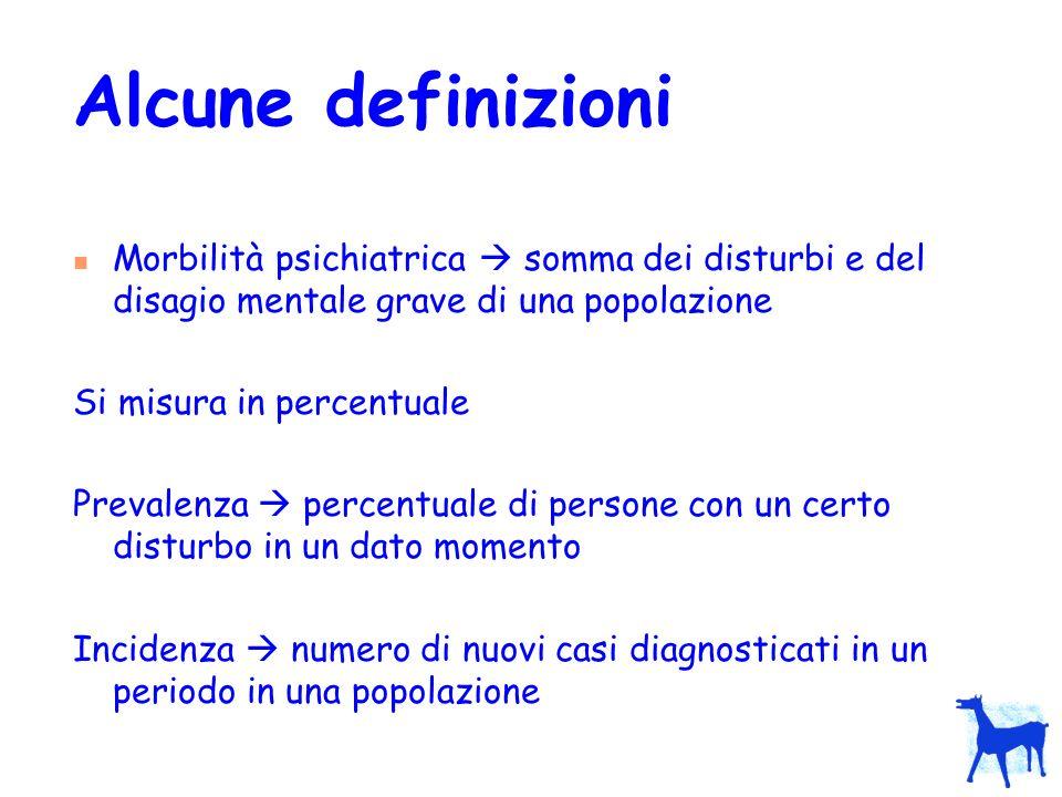 Alcune definizioni Morbilità psichiatrica  somma dei disturbi e del disagio mentale grave di una popolazione.