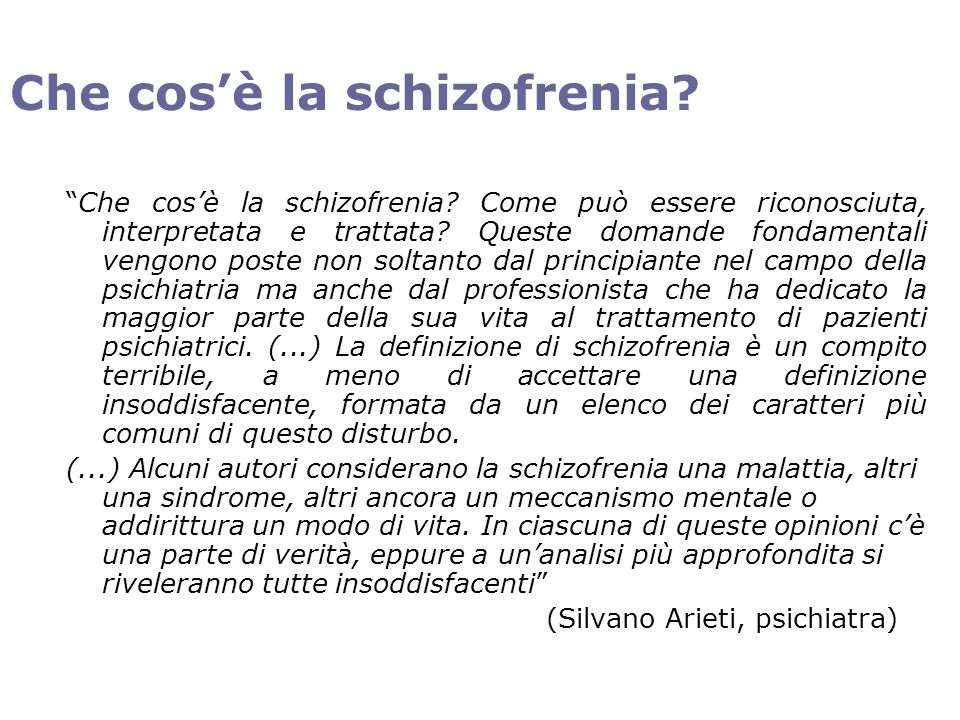Che cos'è la schizofrenia